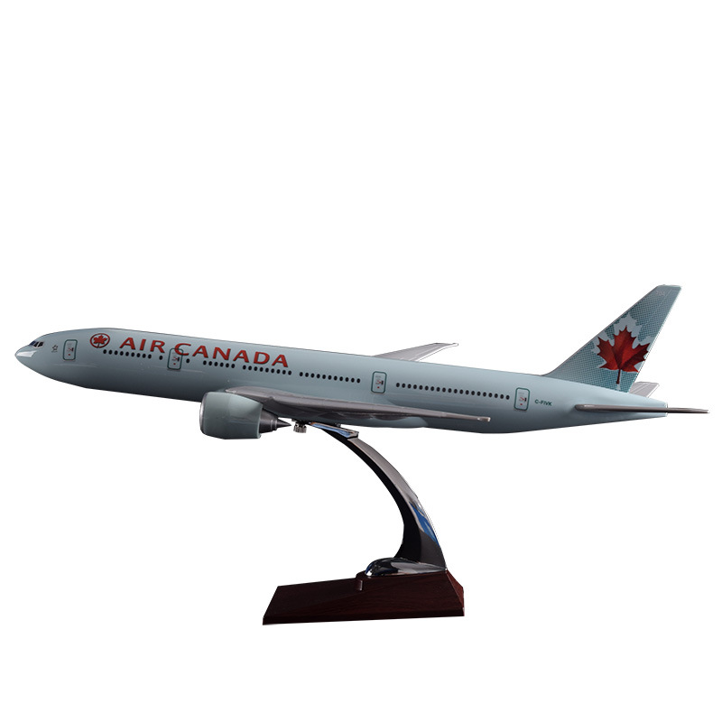 Prenoy 47cm Resin Boeing 777 Canada Airplane Model Canadian Airways Air Canada Airlines B777 Aircraft Stand Plane Model Gift Toy new phoenix 11207 b777 300er pk gii 1 400 skyteam aviation indonesia commercial jetliners plane model hobby