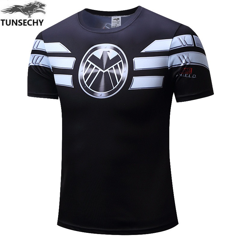 TUNSECHY Fashion team USA iron man round collar short sleeve T-shirt breathable short-sleeved t-shirts wholesale and retail