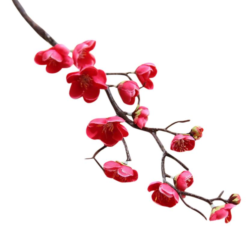 High Quality Artificial Silk Fake Flowers Plum Blossom Floral for Wedding Bouquet Party New Year Decor Drop Shipping in Artificial Dried Flowers from Home Garden