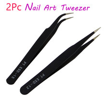 Nail Art Acryl Gel Plukken Tool Rhinestones Gem Decor Black Wimper Pincet Anti-statische DIY hand clip 1.0MM zwart pincet(China)