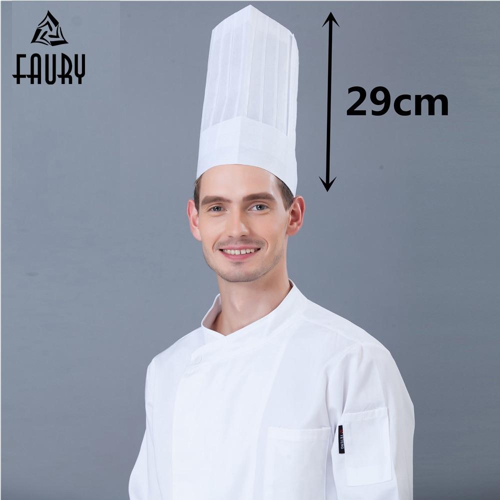 10Pcs/Lot Wholesale Unisex Nonwoven High Middle Flat Chef Waiter Round Hat Restaurant Hotel Kitchen Cooking Work Wear Long Cap