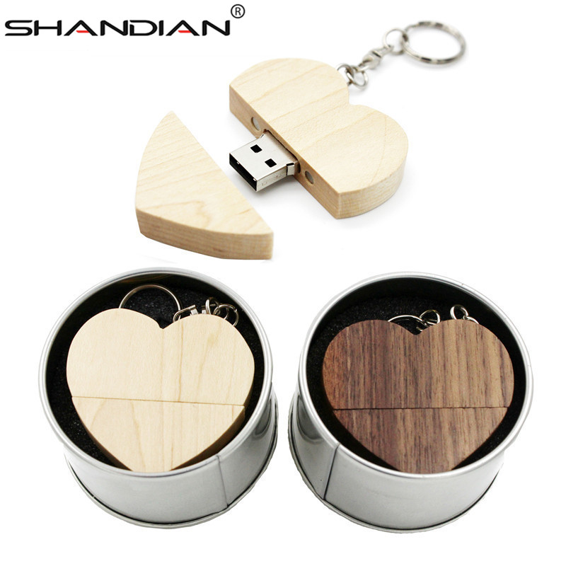 Gift-Box SHANDIAN Usb-Flash-Drive U-Disk Wooden Wedding-Gifts Photography Heart Free-Logo