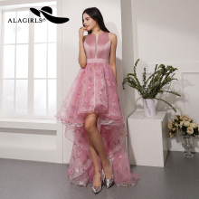 Alagirls Backless Lace Prom Dress 2019 New Designed A Line Evening Hi-Low Party Formal Woman Dresses Robes de bal