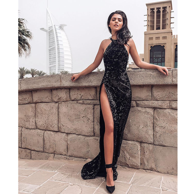 Vestidos De Gala Black High Slit Sparkly Mermaid   Evening     Dress   Long Sexy Halter Sleeveless Sequin Party Prom Gowns