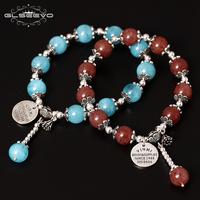 GLSEEVO 925 Sterling Silver Natural Stone Aquamarine Strawberry Quartz Adjustable Women's Bracelets With Charms Jewelry GB0095