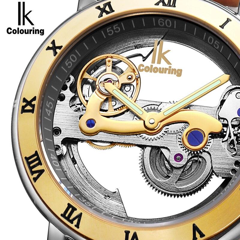 IK Automática Relógios Mecânicos Homens Marca De Luxo Subiu Caso de Ouro Relógio de Couro Genuíno Esqueleto Oco Transparente 50 m à prova d' água