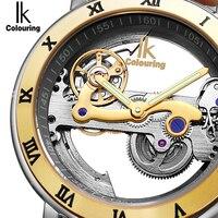 IK Automática Relógios Mecânicos Homens Marca De Luxo Subiu Caso de Ouro de Couro Genuíno Esqueleto Oco Transparente Assistir 50 m à prova d' água