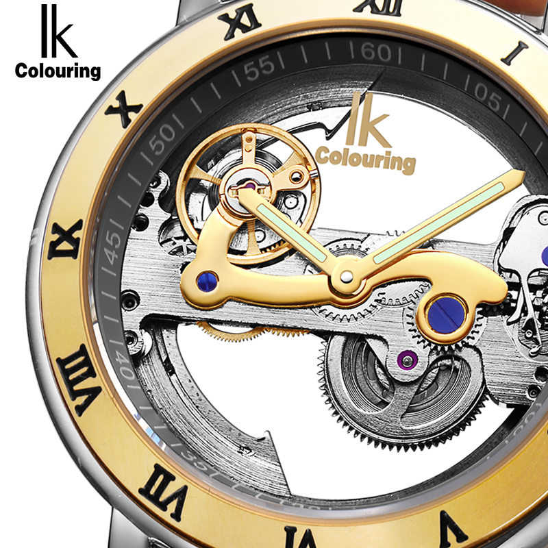 IK Automatic Mechanical Watches Men Brand Luxury Rose Gold Case Genuine Leather Skeleton Transparent Hollow Watch 50m waterproof ik brand luxury automatic mechanical watches men sub dial function date 24 hours display genuine leather skeleton watch relojes