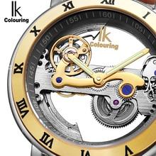 IK Автоматические механические часы, мужские брендовые роскошные часы цвета розового золота, чехол из натуральной кожи, прозрачные полые водонепроницаемые часы 50 м