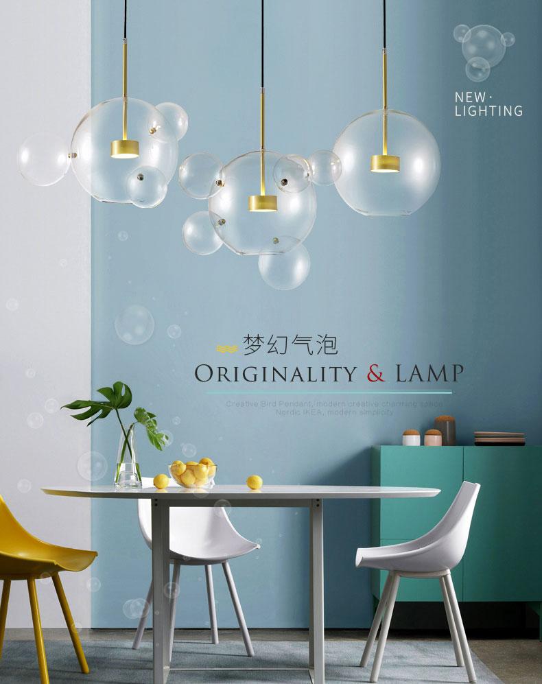 Nordique Art Creative Savon Bulle Salle À Manger En Verre LED Pendentif Lumière Salon Chambre Designer Lumière Café Boutique Luminaires