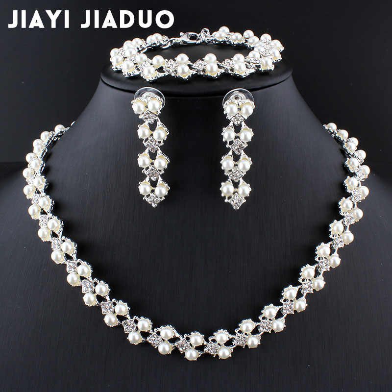 jiayijiaduo set of jewelry simple fashion imitation pearl Silver color necklace bracelet earring for women wedding accessories