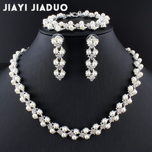jiayijiaduo set of jewelry simple fashion imitation pearl Silver color necklace bracelet earring for women wedding accessories(China)