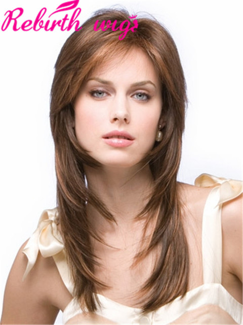 fashion synthetic hair wigs with side bangs straight long brow wigs