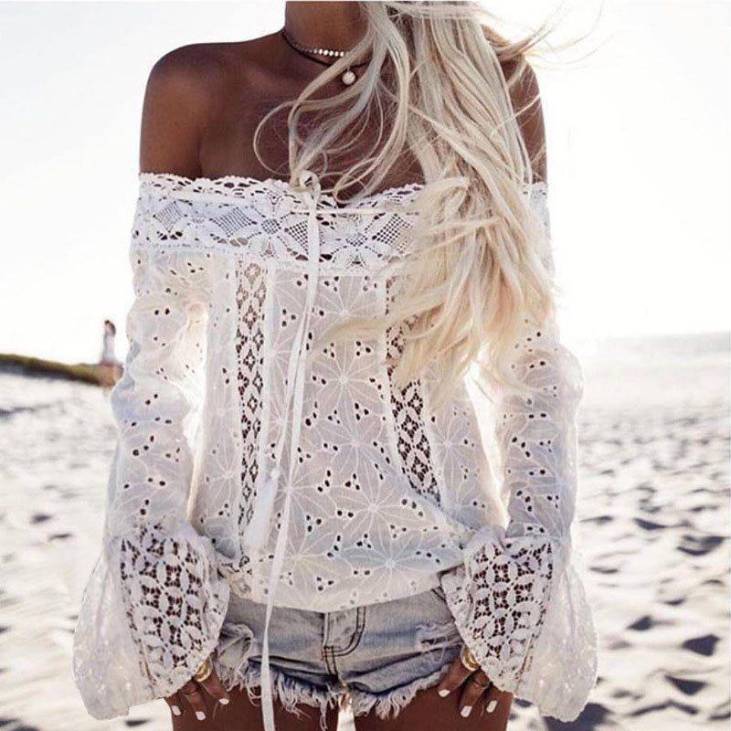 26180c0569 Aliexpress.com  Compre Mulheres verão blusa manga flare off blusas ombro  camisa de manga longa barra pescoço blusa de renda floral tops blusas  sólido branco ...