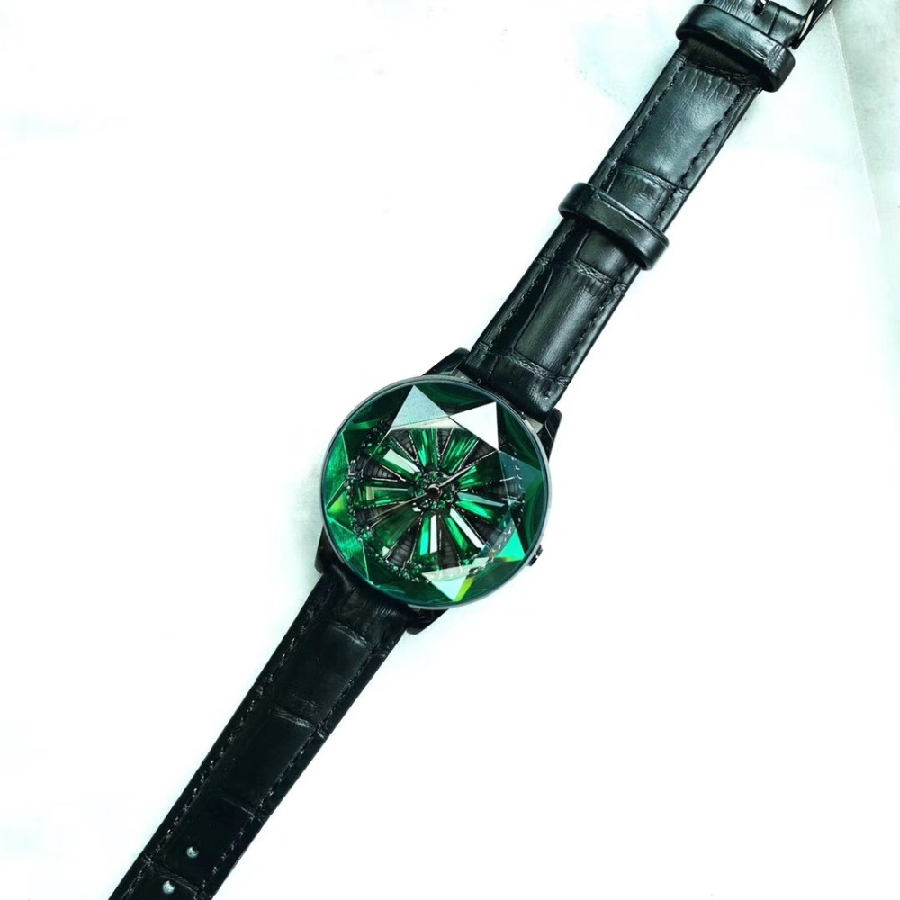 So Pretty Green Crystal Watches For Women Faceted Star Watch Spinning Flower Waterproof Leather Strap Wirstwatch Rotating Montre