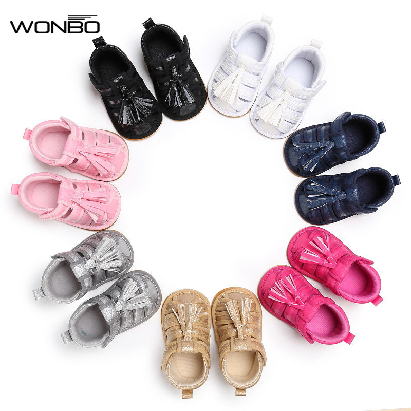 WONBO Newborn Toddler Infant Fringe Summer Shoes For Girl Boy Kids Cool Soft Rubber Sole First Walker Children Cool Prew ...