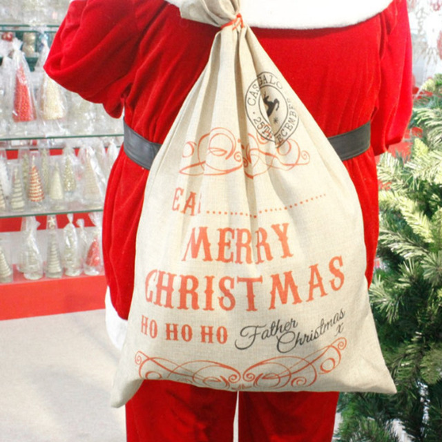 7049cm christmas gift bag large forest concert linen gift bag simple art style bag - Large Christmas Gift Bags