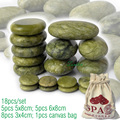 new 18pcs/set green jade body massage hot stone SPA with canvas CE and ROHS 5pcs(5x8)+5pcs(6x8)+8