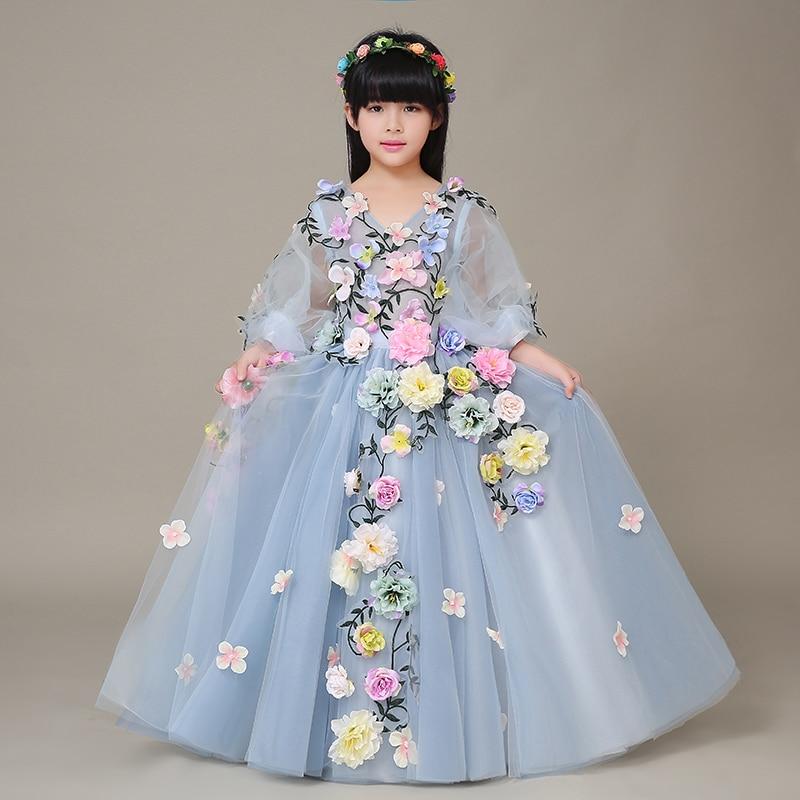 2019 nouveau luxe fleur filles fête robe brodée formelle demoiselle d'honneur mariage fille noël princesse robe de bal robe d'anniversaire