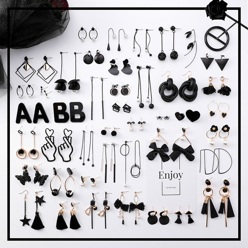 2018 New Korean Girl Earrings Black Geometry Tassel Drop Earrings For Women Fashion Cute Jewelry Accessories