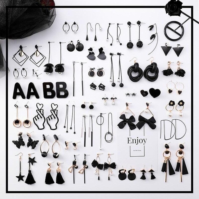 2019 New Korean Girl Earrings Black Geometry Tassel Drop Earrings For Women Fashion Cute Jewelry Accessories