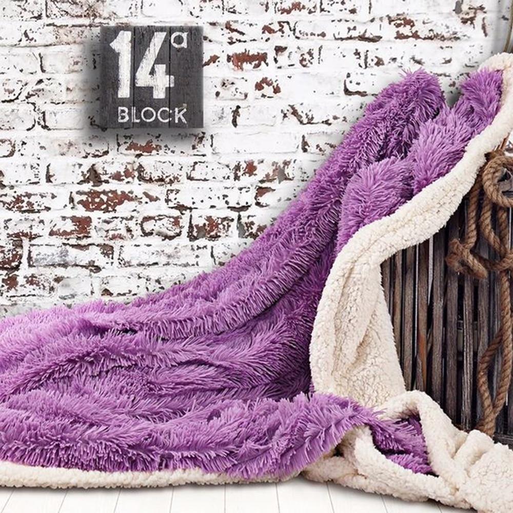 Двухслойное супер мягкое одеяло для теплого сна для пледы одеяло отель искусственное меховое одеяло диван зима - Цвет: purple