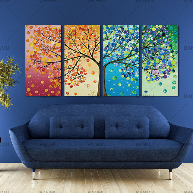 Picture Wall Art Canvas Painting Tree Living Room Colourful Leaf Trees Spray