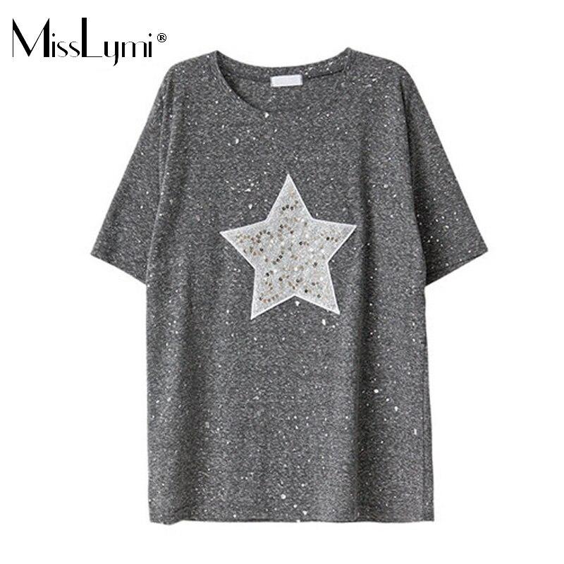MissLymi Más Tamaño Mujeres de la camiseta 2017 de Moda de Verano Brillante Patr