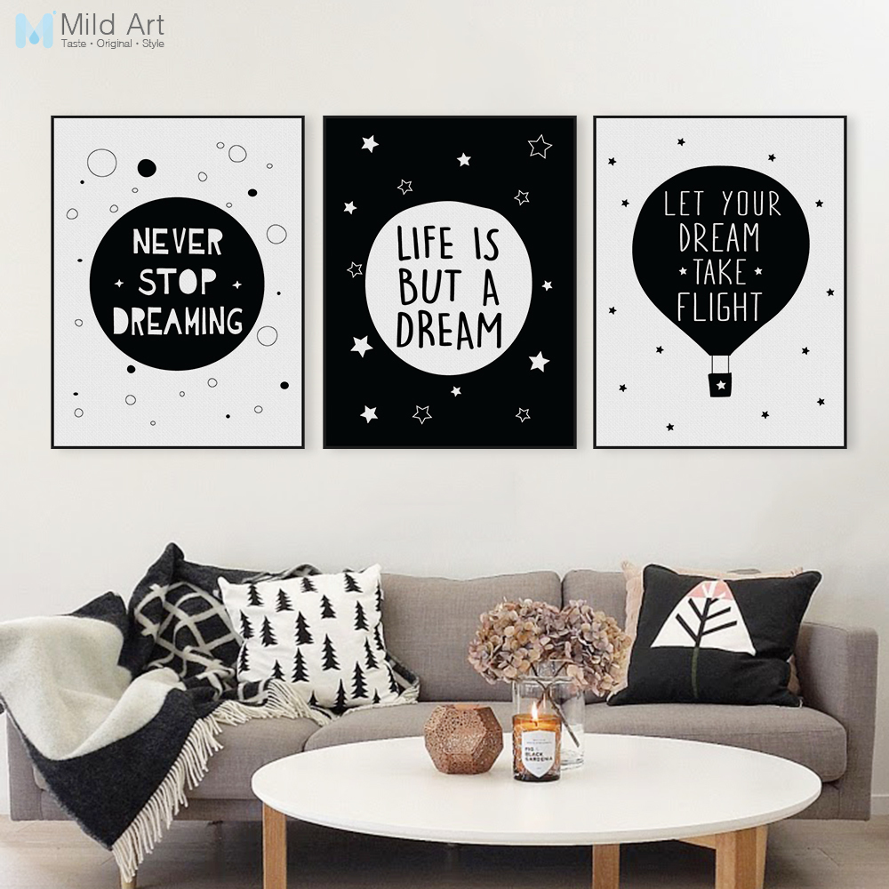 Nordic black white typography dream life quotes art print for Wall poster for living room