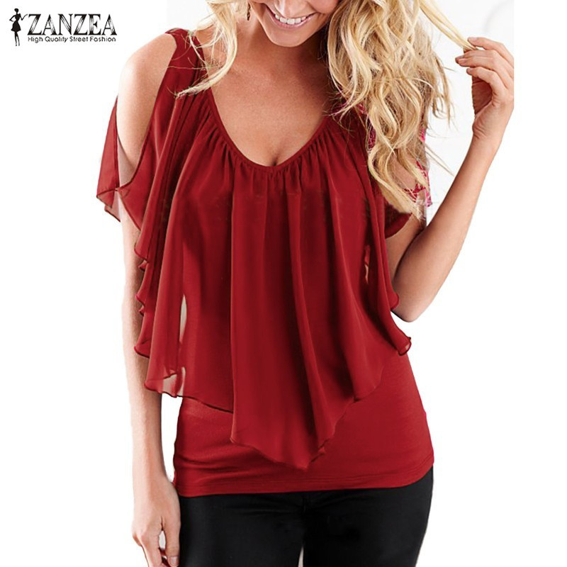 ZANZEA Kvinder 2018 Summer Blusas Sexy Off Shoulder V Neck Splicing Chiffon Solid Blouses Shirts Fashion Plus Size Tee Tops