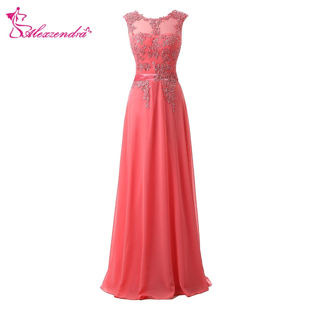 Alexzendra A Line Chiffon Pink Bridesmaid Dress for Wedding Scoop Long Bridesmaids  ...