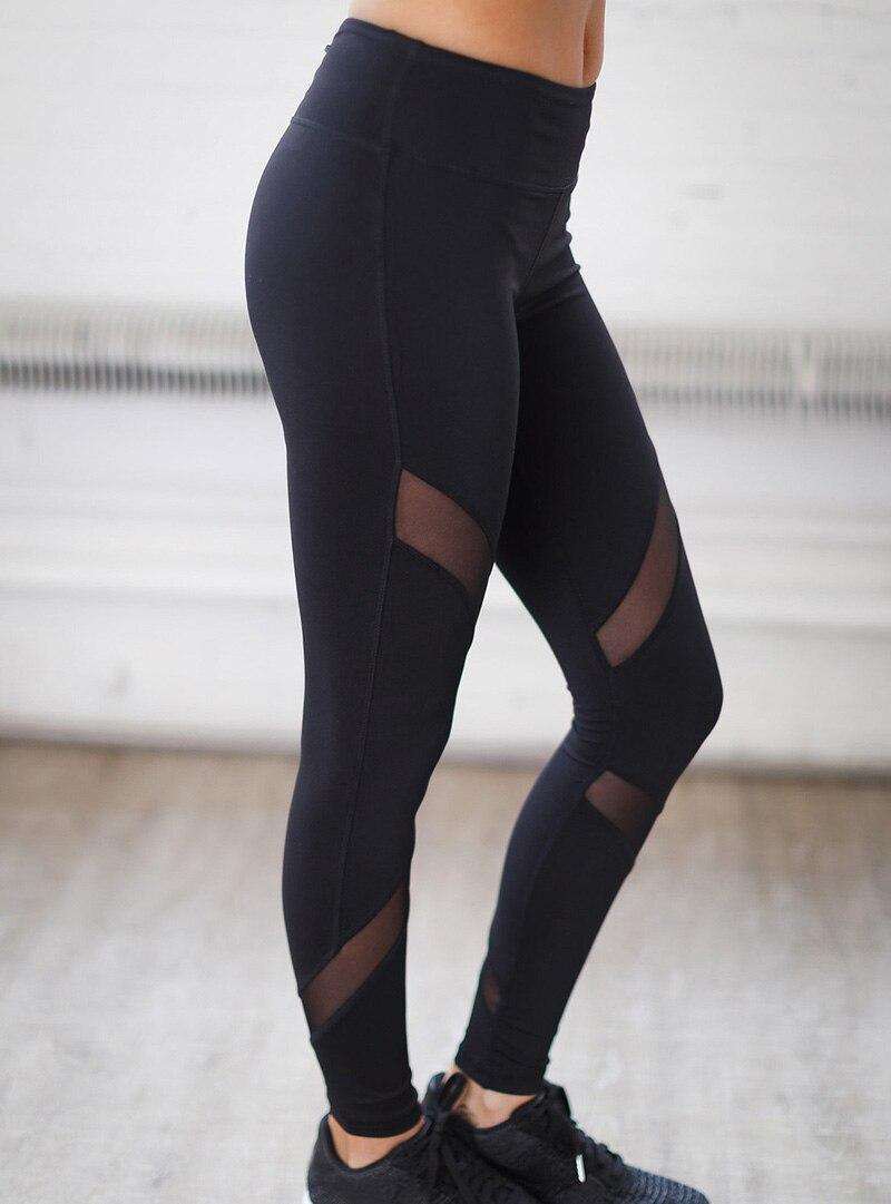 Fashion Woman leggings pants Stretch mesh perspective patchwork Long trousers high waist Leggings Pants