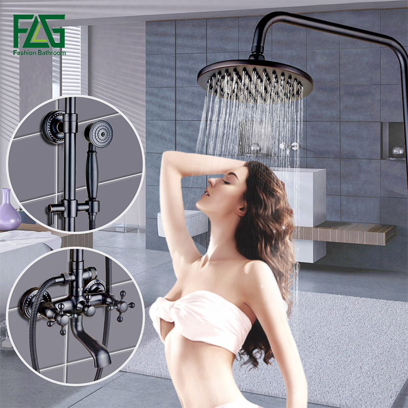 Bathroom Fixture Waterfall Wall Mounted Rain Shower Faucets Oil Rubbed Bronze Black Bathroom Faucet Cold and Hot Water Mixer Tap uythner modern wall mounted oil rubbed bronze shower tub faucet mixer tap hot and cold