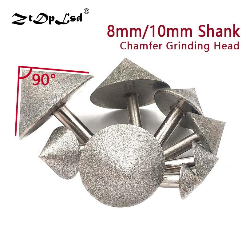 ZtDpLsd 1PCS 20-60MM Plating Diamond Cone Chamfer Grinding Head 90 Dregree For Stone Jade Glass Drilling Chamfer Grinding Head