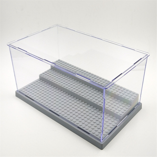 1 unid 3 pasos display case/caja a prueba de polvo escaparate gris base para lego bloques de plástico acrílico caja de presentación del caso 25.5x15.5x13.8 cm