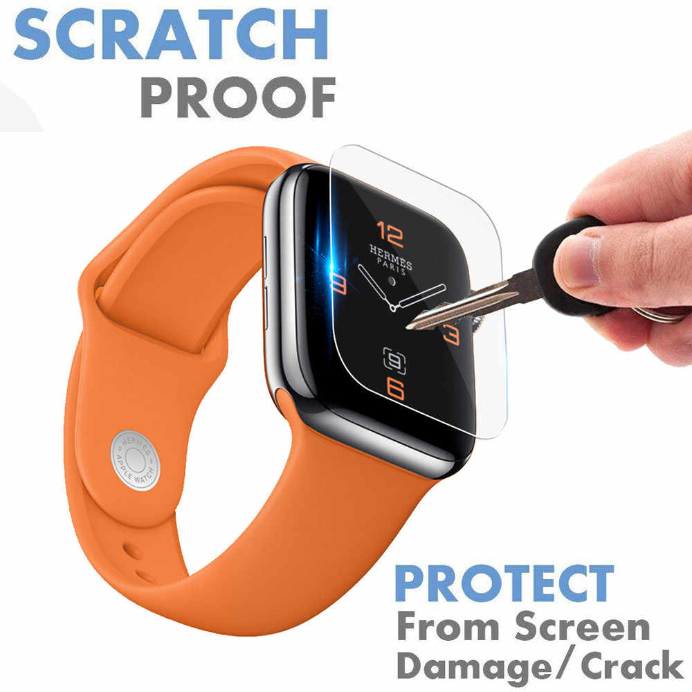 For Apple Watch iWatch Series 1/2/3/4 9H 3D Curved Full Coverage Tempered /Soft TPU Glass Screen Protective Film 44mm