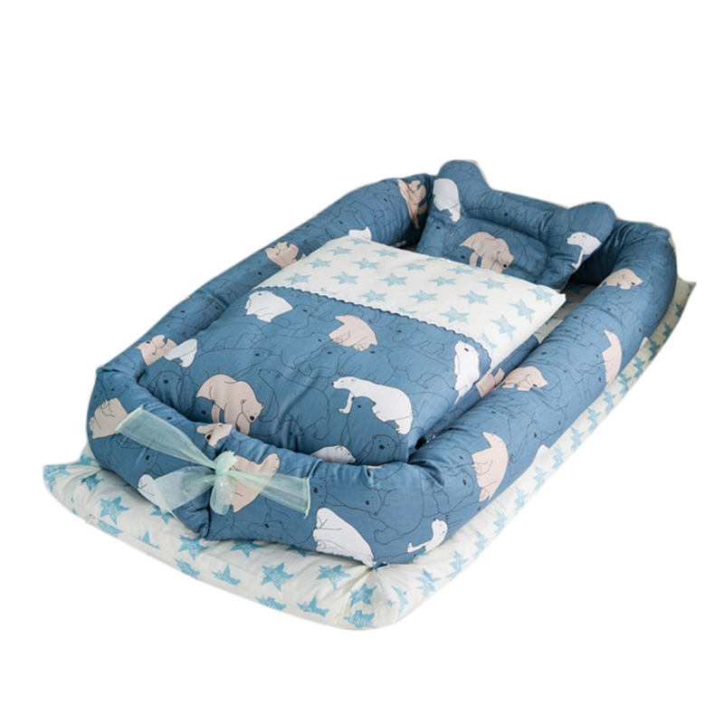 Baby Bed Bumper Pillow Mattress Quilt Set Removable Cotton Baby Bed in Bed Protection Bumper Cradle Multifunction for Baby CribBaby Bed Bumper Pillow Mattress Quilt Set Removable Cotton Baby Bed in Bed Protection Bumper Cradle Multifunction for Baby Crib