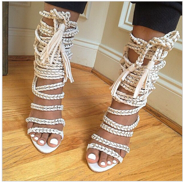 Sexy Chains Rope Women Sandals High Heels Stiletto Tassel Lace Up Gladiator Sandals Botas Strappy Celebrity Summer Shoes Woman pop stars same design latest 2016 sexy tassel women sandals high heels lady casual lace up dress party shoes for women and girl