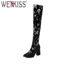 WETKISS Embroider Charming Over-the-Knee Boots 2017 New Arrival Cozy Winter Boots Natural Leather Women's High Heel Shoes