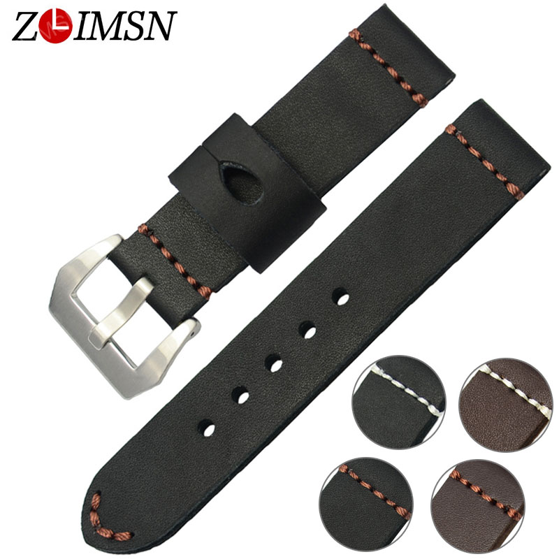 ZLIMSN High Quality Thick Genuine Leather Watchband 22mm 24mm Black Brown Watch Strap 316L Stainless Steel