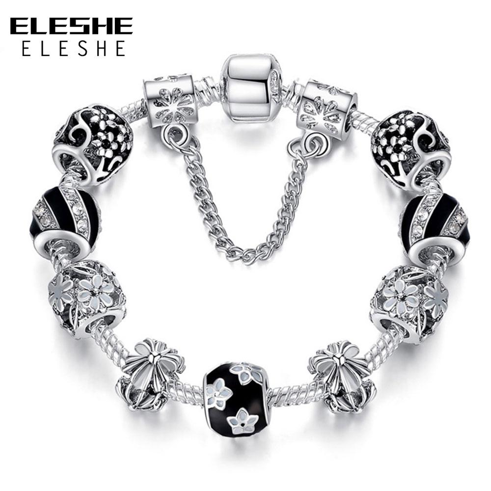 Autentiska 925 emalja sudraba kristāla pērlītes rokassprādze - Modes rotaslietas - Foto 1