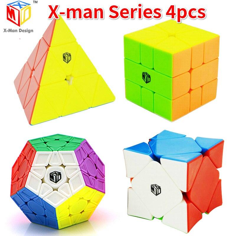 Oyuncaklar ve Hobi Ürünleri'ten Sihirli Küpler'de 4 adet Qiyi X MAN Galaxy V2 + Volt SQ 1 + Wingy Eğik + Çan Üçgen XMD Hızlı Mofangge magicCube Bulmaca Pyramin Kare 1 Oyuncaklar IÇIN Çocuk'da  Grup 1