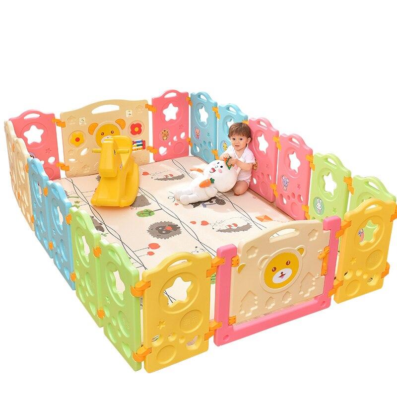 Брендовые Детские дверь стоп ребенка ворота Высокое качество без запаха звезд забор ребенка ползать Малыш безопасности головоломки Пласти