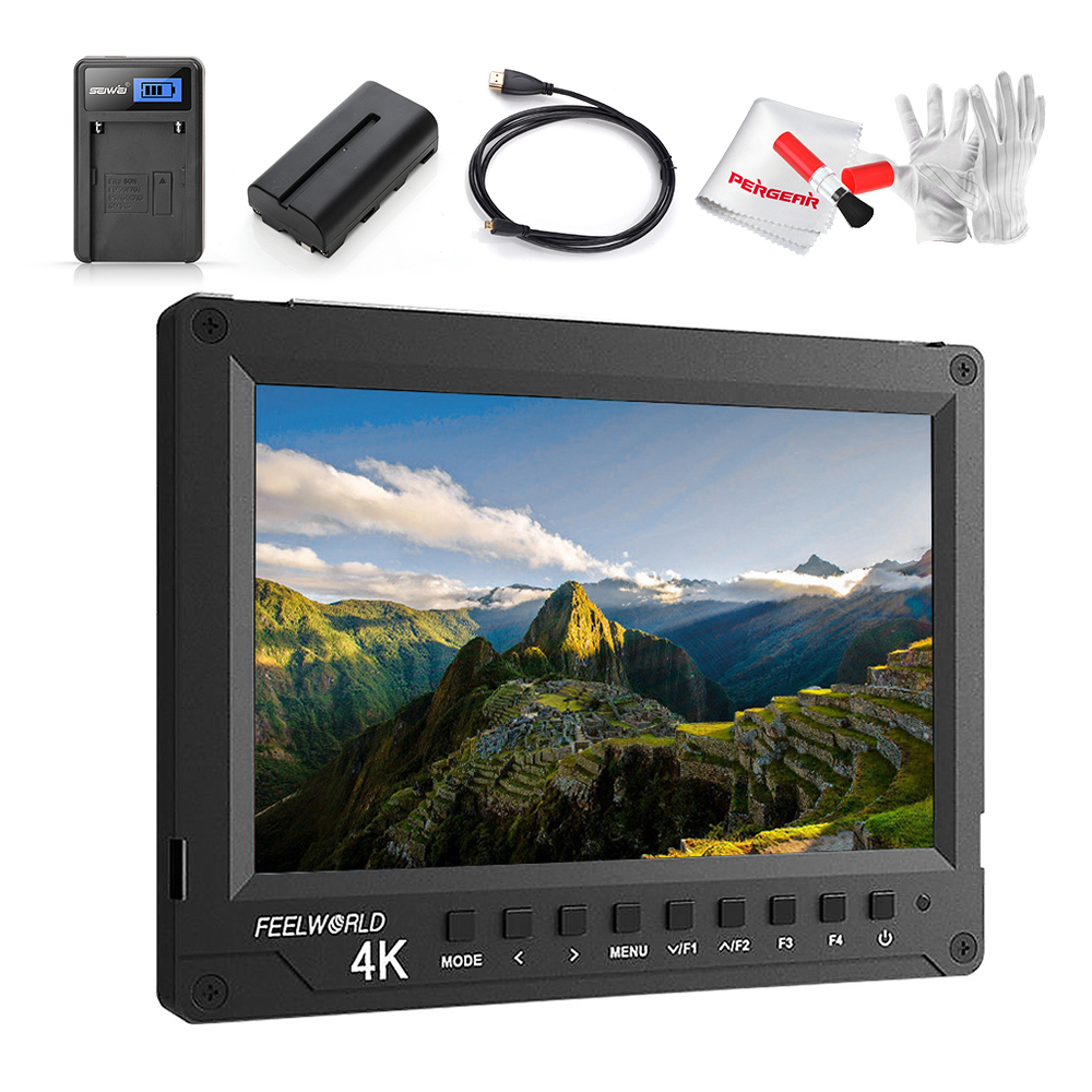 w/ Battery Feelworld A737 7 Inch Field Monitor + HDMI Cable Aluminum Full HD 1920x1200 4K HDMI On-camera Monitor for Photography