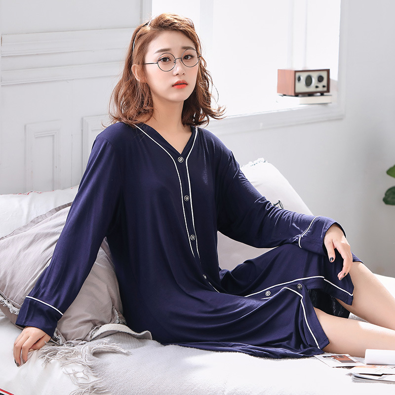 Women Oversize Nightgown Modal Cotton Soft Sleep dress V-Neck Loose Plus Size 4XL 5XL 6XL Summer Sleepwear Home Clothing  1