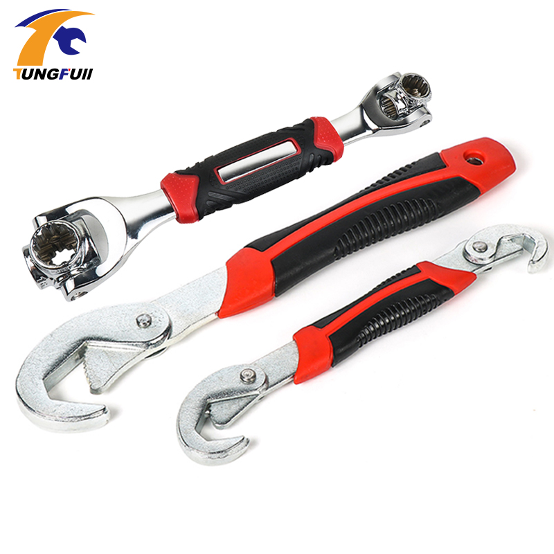 Tungfull Hardware Tool Multi-Function Universal Wrench Adjustable Grip Wrench Set Disassembly Ratchet Wrench Spanner Hand Tools