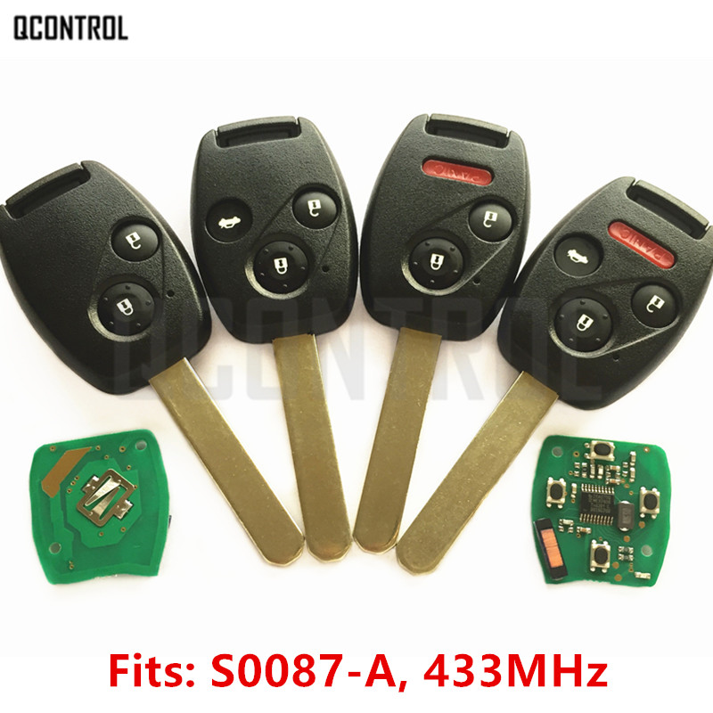 QCONTROL Remote Key Keyless Entry for Honda S0087-A Accord Element Pilot Civic CR-V HR-V Fit Insight City Jazz Odyssey ID46 Chip fuzik keyless go smart key keyless entry push remote button start car alarm for honda accord odyssey crv civic jazz vezel xrv