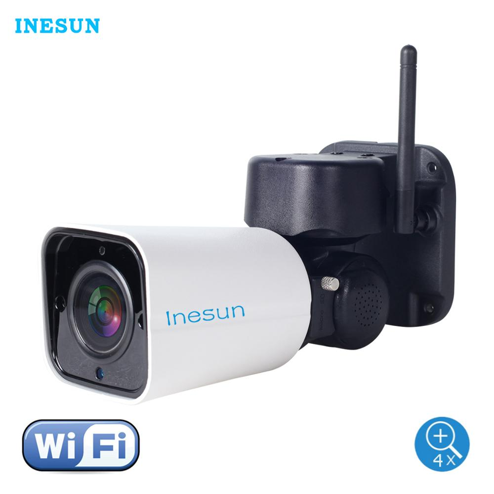 Inesun Outdoor WiFi IP Security Camera 1080P 4X Zoom PTZ 120ft IR Night Vision Two-Way Audio 128G SD Card