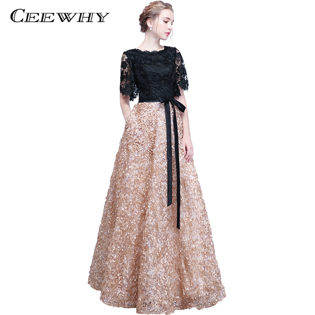 CEEWHY Black Khaki Robe de Soiree Longue 2018 Prom Dresses Half Sleeve Lace Evening  Dresses Long Evening Gown Formal Dress 913403b219b8