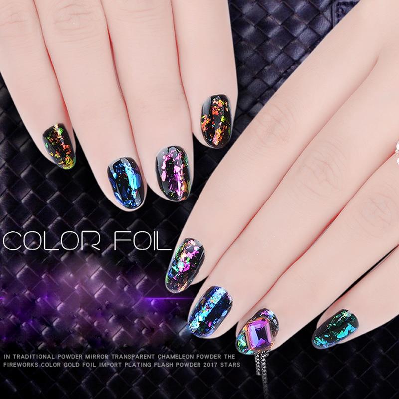 1 Box Nail Art Charms Chameleon Colorful Nails Dip Powder Glitter ...